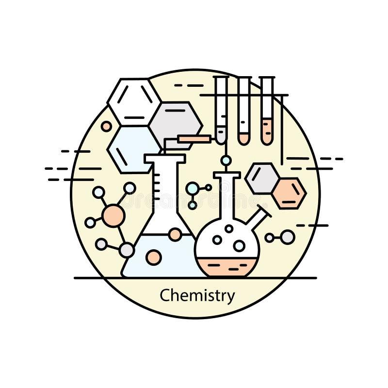 Het moderne concept van de kleuren dunne lijn chemie royalty-vrije illustratie