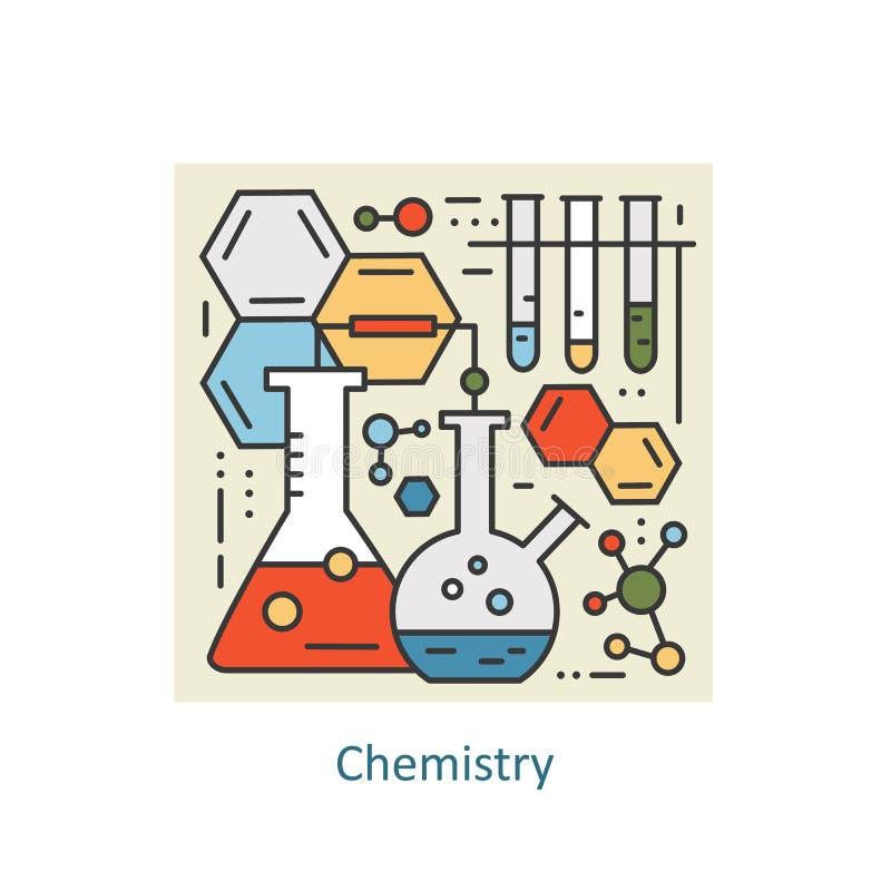 Het moderne concept van de kleuren dunne lijn chemie voor school, universiteit en opleiding vector illustratie