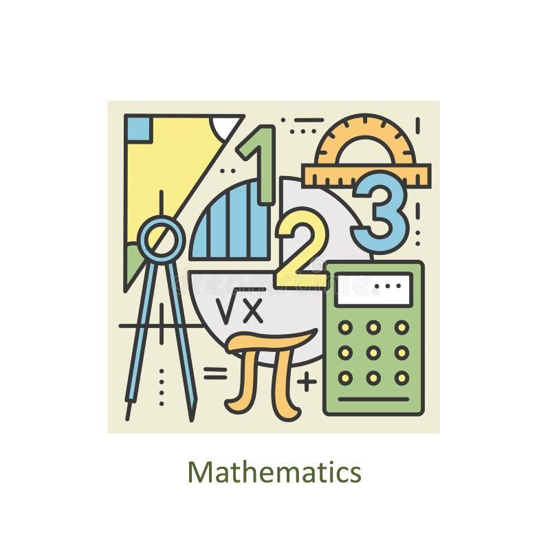 Het moderne concept van de kleuren dunne lijn wiskunde voor school, universiteit en opleiding stock illustratie