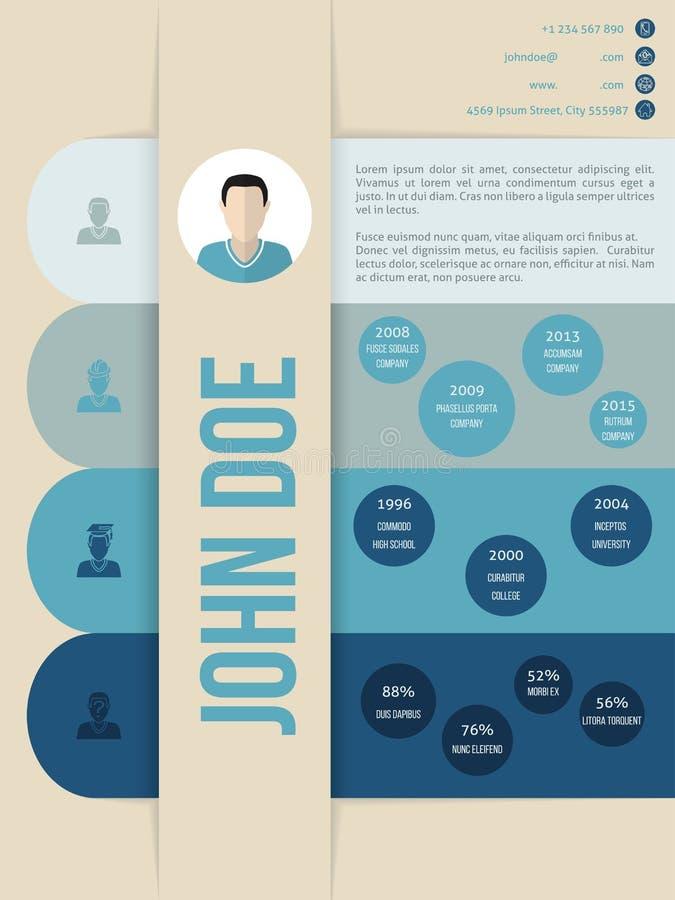 Het moderne cv-curriculum vitae hervat malplaatje in blauwe schaduwen royalty-vrije illustratie