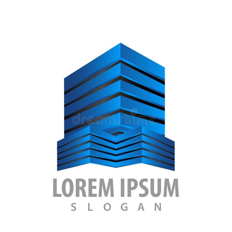 Het moderne 3D conceptontwerp van het bouwterreinembleem Het elementenvector van het symbool grafische malplaatje vector illustratie