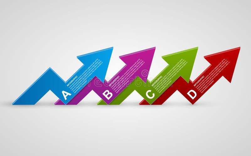 Het moderne 3d malplaatje van het pijlen infographic ontwerp vector illustratie