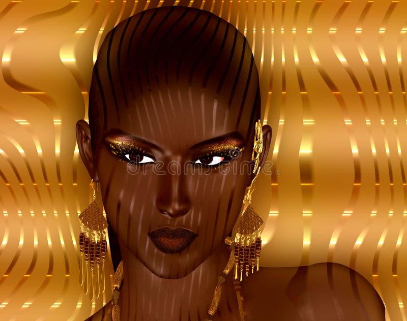 Het moderne digitale kunstbeeld van het gezicht van een vrouw, sluit omhoog met kleurrijke abstracte achtergrond stock illustratie