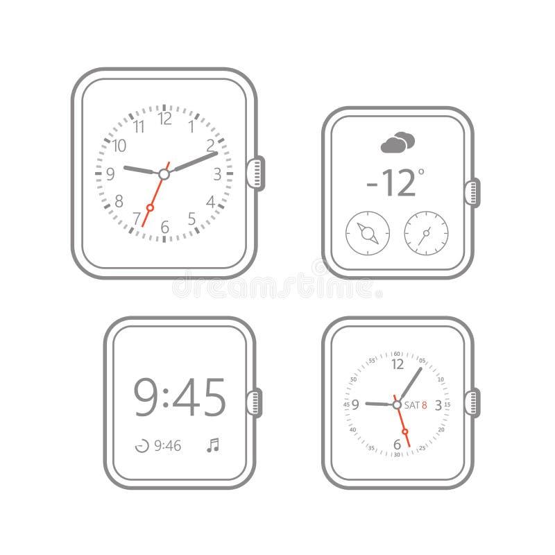Het moderne digitale malplaatje van horlogewijzerplaten vector illustratie