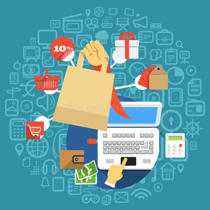Het moderne digitale winkelen stock illustratie