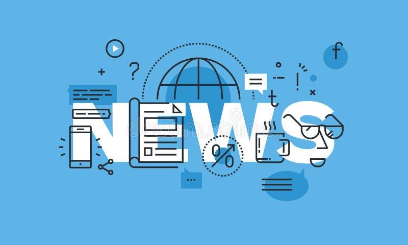 Het moderne dunne concept van het lijnontwerp voor de banner van de nieuwswebsite stock illustratie