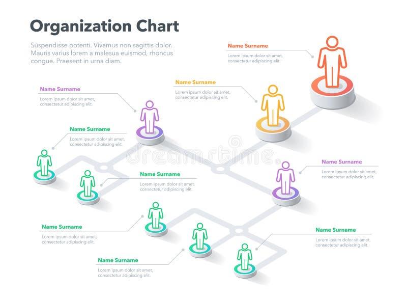 Het moderne eenvoudige malplaatje van de de hiërarchiegrafiek van de bedrijforganisatie met plaats voor uw inhoud royalty-vrije illustratie