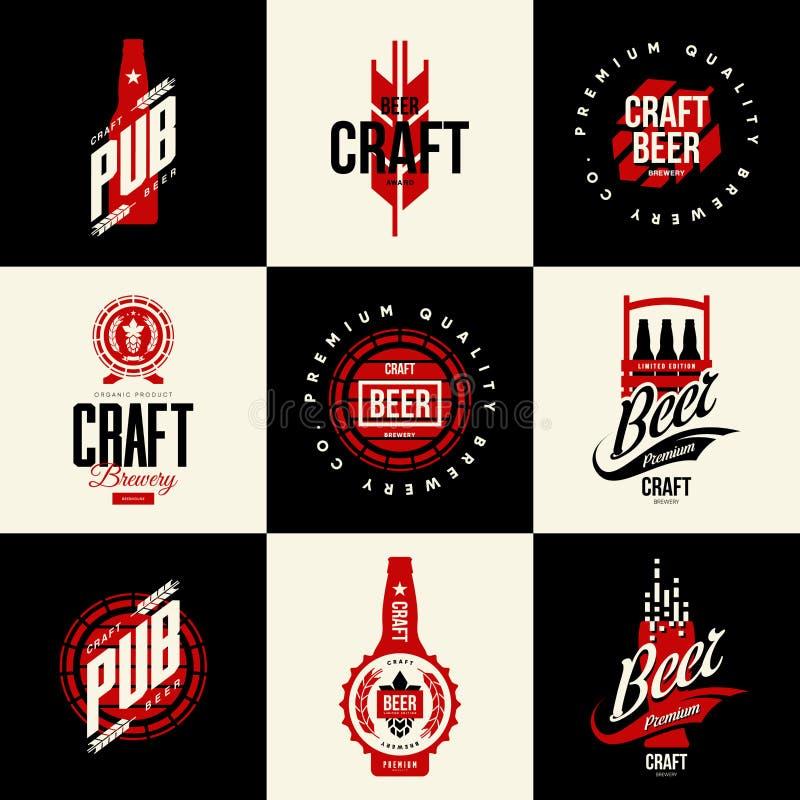 Het moderne geïsoleerde teken van het de drank vectorembleem van het ambachtbier voor bar, bar, brouwerij of brouwerij vector illustratie