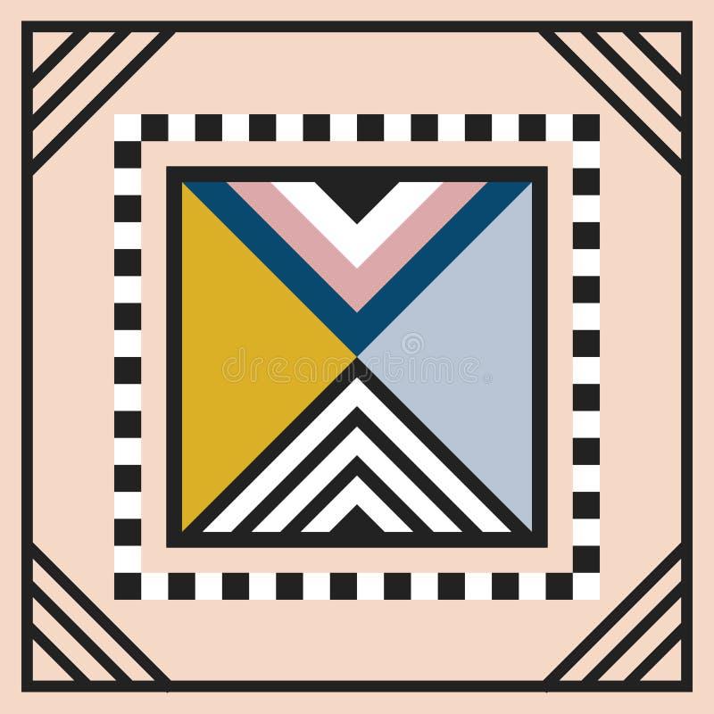 Het moderne geometrische van het het embleemkader van de tegeldriehoek van de de decoratiekunst element van het het werkontwerp o stock illustratie