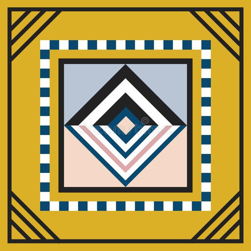 Het moderne geometrische van het het embleemkader van de tegelruit van de de decoratiekunst element van het het werkontwerp op ge vector illustratie