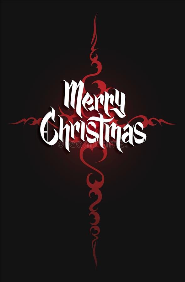 Het moderne gotische kruis en Kerstmis van letters voorzien Vector stock illustratie