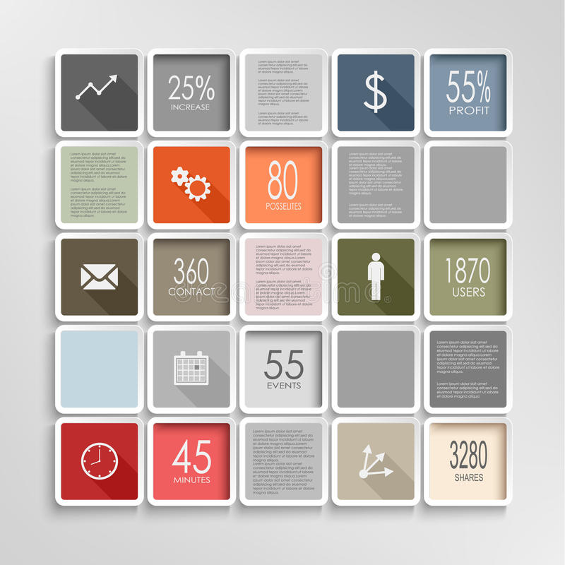 Het moderne grafische malplaatje van de vierkanten kleurrijke informatie stock illustratie