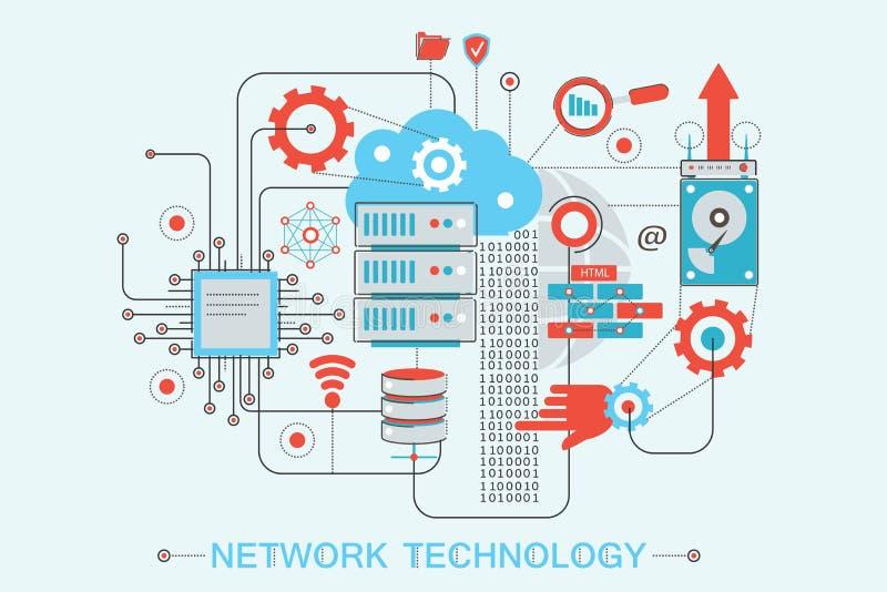 Het moderne grafische vlakke concept van de stijlinfographics van het lijnontwerp globale Netwerktechnologie royalty-vrije illustratie