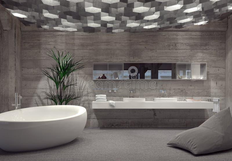 Het moderne grijze binnenland van de luxebadkamers royalty-vrije illustratie