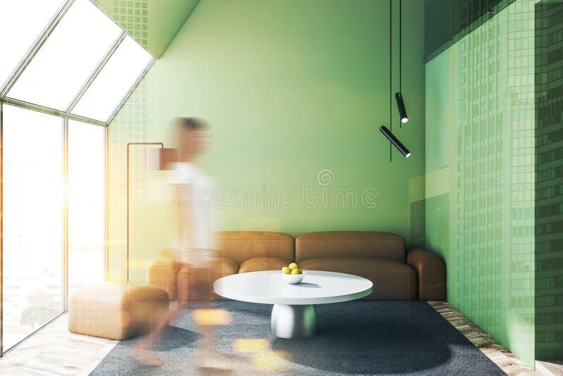 Het moderne groene binnenland van het woonkamerontwerp stock afbeeldingen