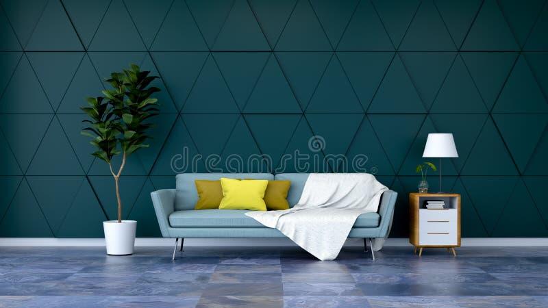 Het moderne groene ruimte binnenlandse ontwerp, de blauwe bank en de installatie met houten kabinet op marmeren bevloering en gro royalty-vrije stock afbeeldingen