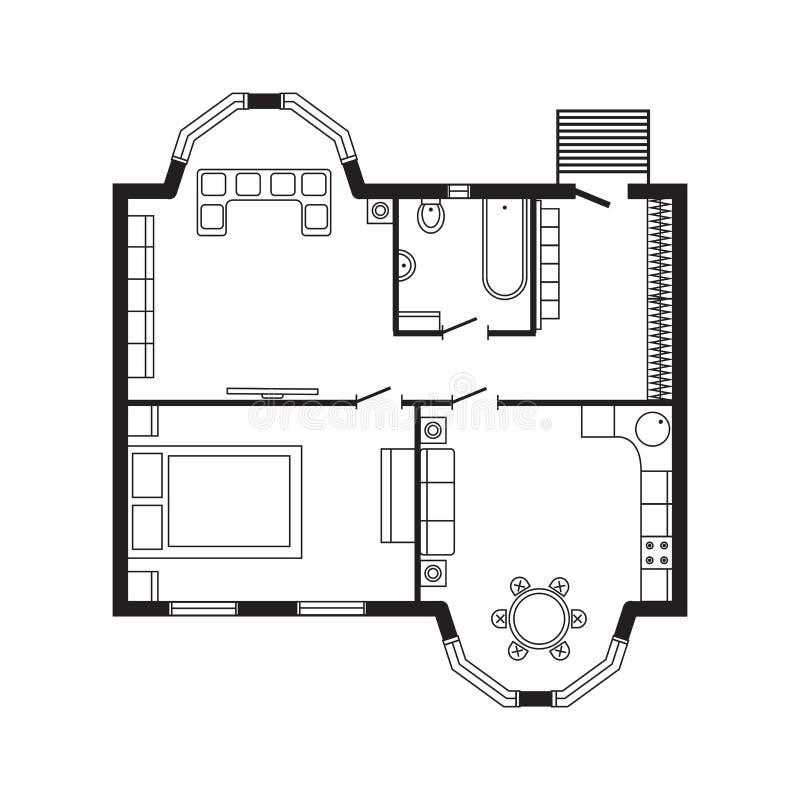 Het moderne het meubilair en de bouwproject van de ontwerptekening van het bureau architecturale plan binnenlandse stock illustratie