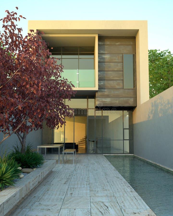 Het moderne huis van de luxe met pool royalty-vrije illustratie