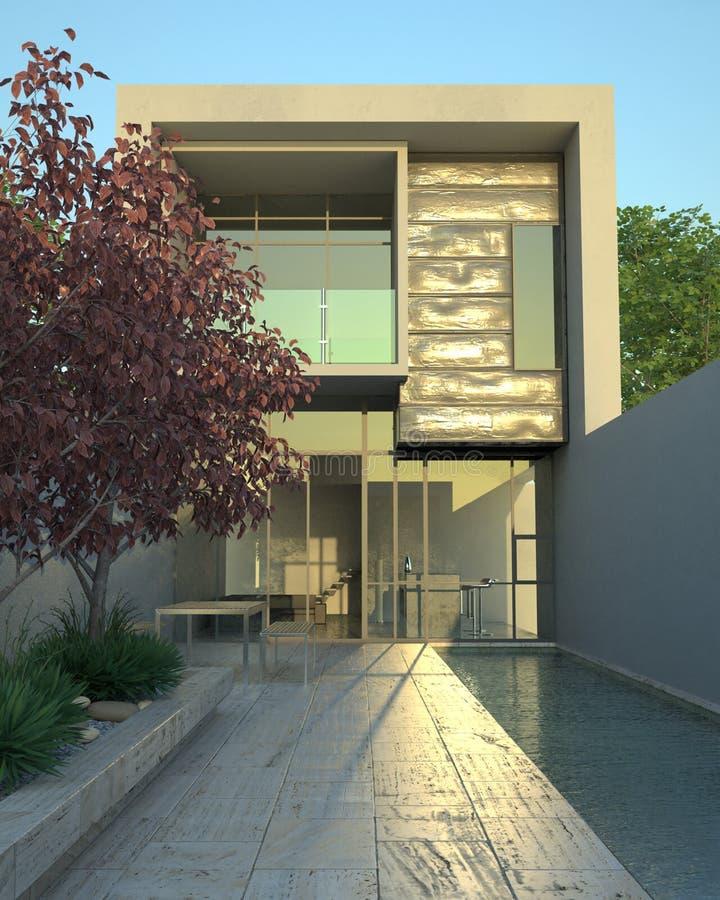 Het moderne huis van de luxe met pool stock illustratie