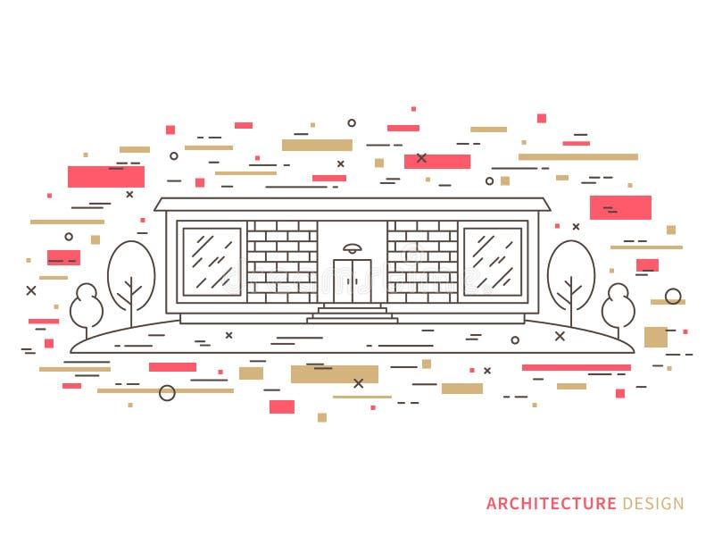 Het moderne huis van de ontwerperbaksteen royalty-vrije illustratie