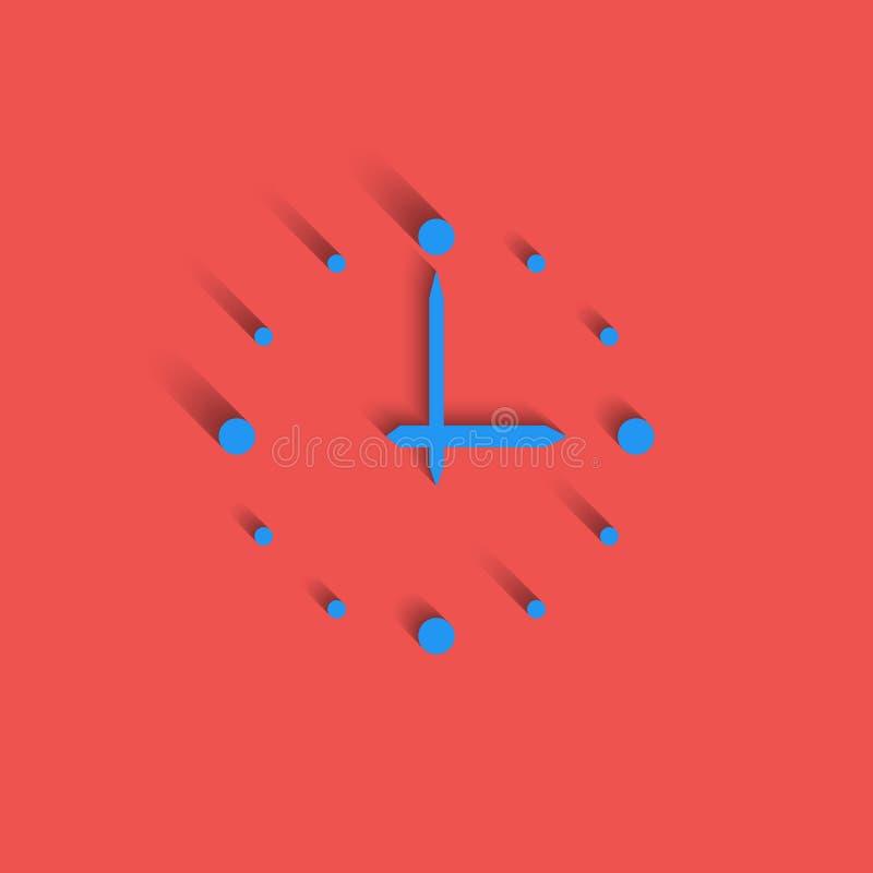 Het moderne idee van het klokembleem, achtergrond van het het pictogram de rode materiële ontwerp van de intervaltijd vector illustratie