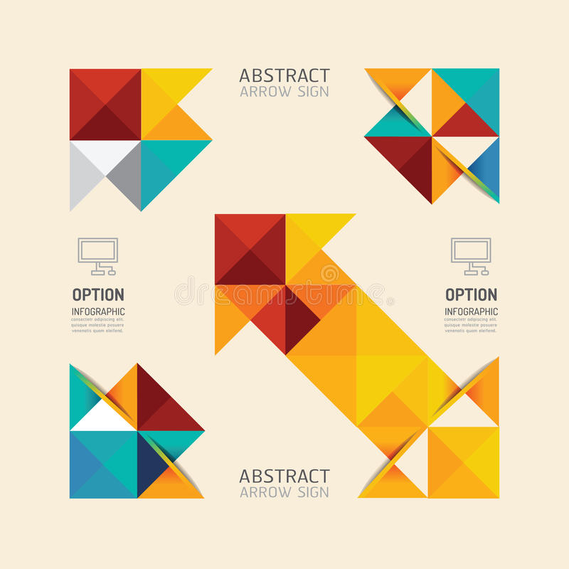 Het moderne infographic abstracte ontwerp van de banner geometrische pijl stock illustratie