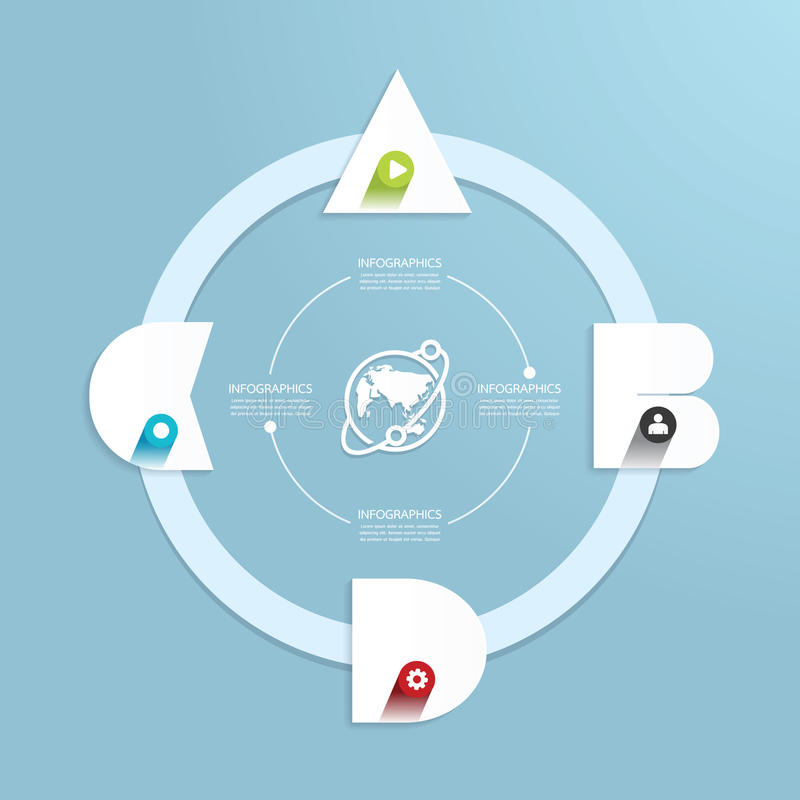 Het moderne infographic malplaatje van de Ontwerp Minimale stijl met alfabet stock illustratie