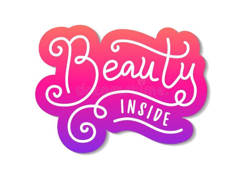 Het moderne kalligrafie van letters voorzien van Schoonheid binnen in wit met roze overzicht in document sneed stijl op witte ach stock illustratie