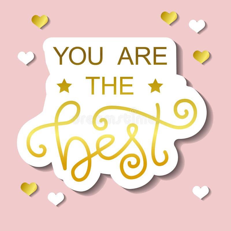 Het moderne kalligrafie van letters voorzien van u is het beste in gouden met wit overzicht op roze achtergrond met harten vector illustratie