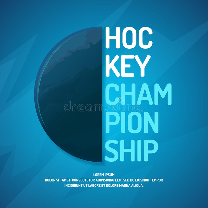 Het moderne kampioenschap van het afficheijshockey met de puck op het ijs royalty-vrije illustratie