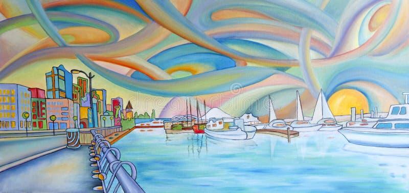 Het moderne kleurrijke schilderen van de stad van Seattle. royalty-vrije illustratie