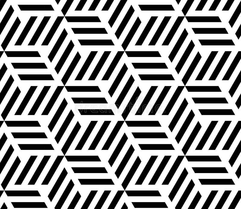 HET MODERNE LINEAIRE NAADLOZE VECTORpatroon VAN GEOMERTIC ZWART-WIT GESTREEPTE RUIT Op kunstontwerp stock illustratie