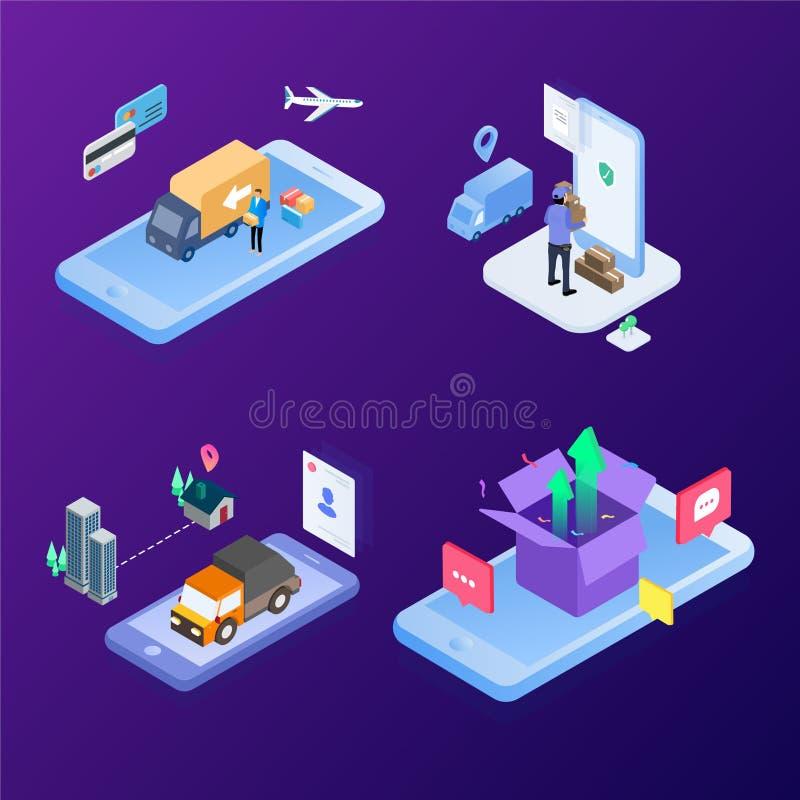 Het moderne logistische systeem snel verschepend gebruikend de toekomstige technologie van Internet Isometrische Vectorillustrati royalty-vrije illustratie