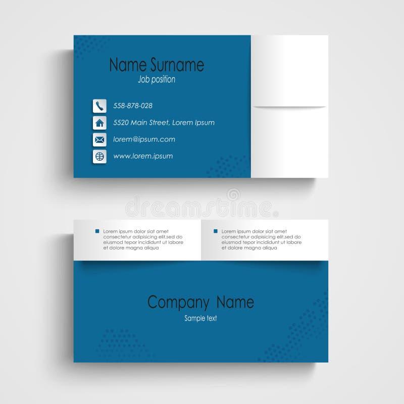 Het moderne malplaatje van het steekproef blauwe adreskaartje royalty-vrije illustratie