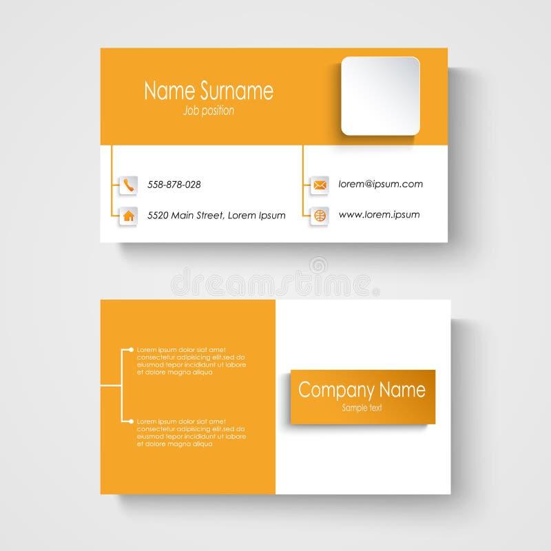 Het moderne malplaatje van het steekproef oranje adreskaartje vector illustratie