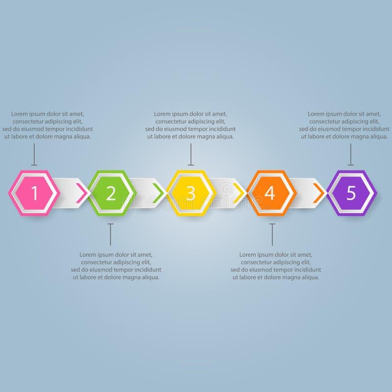 Het moderne malplaatje van het infographicsproces met document bladen, veelhoeken royalty-vrije illustratie