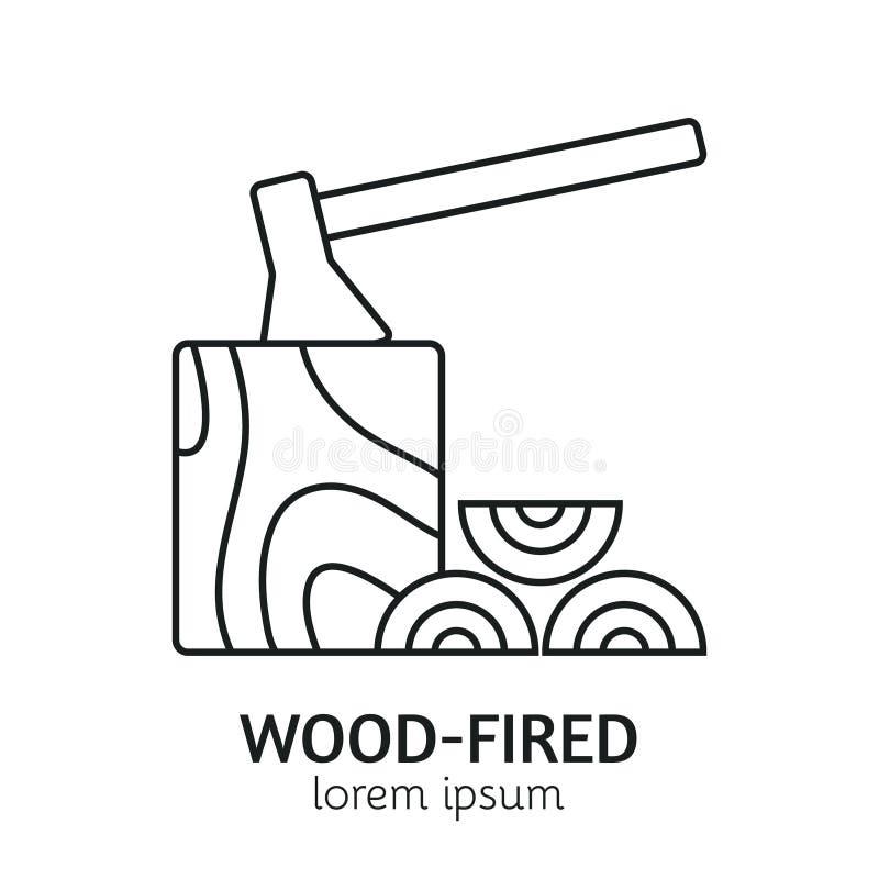 Het moderne Malplaatje van Lijnstijl houten-In brand gestoken Logotype royalty-vrije illustratie