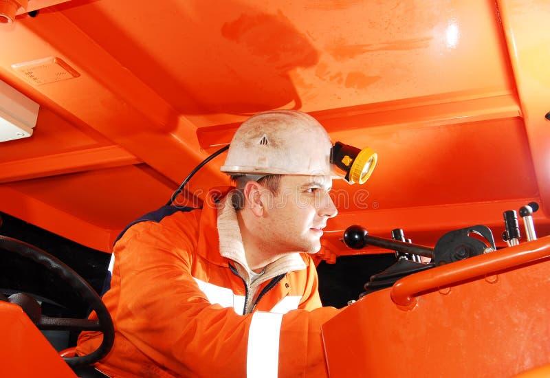 Het moderne mijnwerker werken stock afbeelding