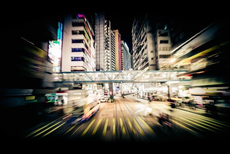 Het moderne onduidelijke beeld van de stadsmotie Hon Kong Abstract cityscape verkeer stock afbeelding