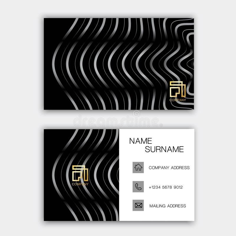 Het moderne ontwerp van het adreskaartjemalplaatje Met inspiratie van de samenvatting Contactkaart voor bedrijf Zwart-wit met twe stock illustratie