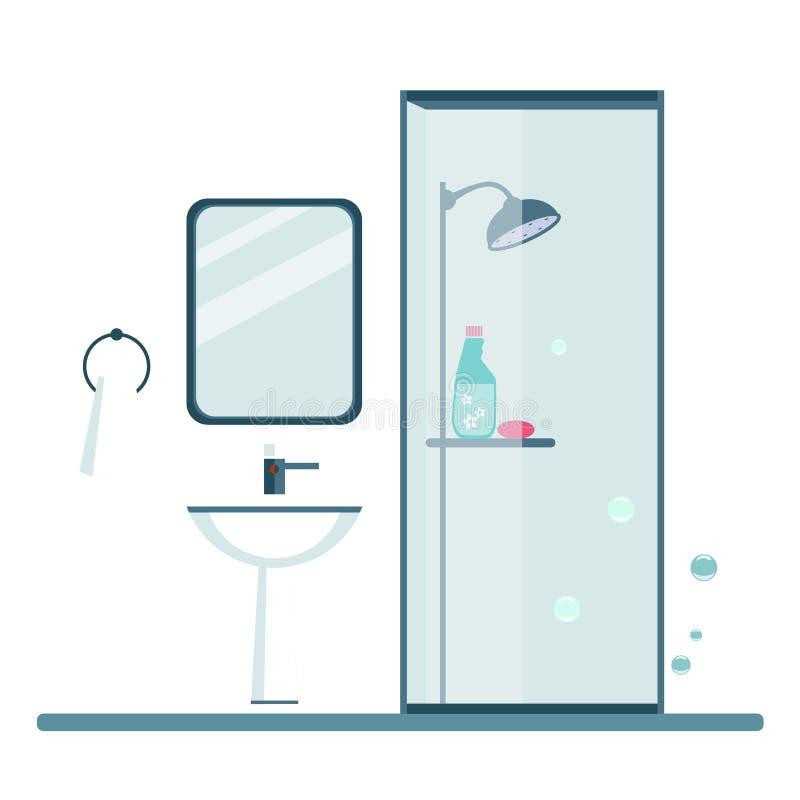 Het Moderne in ontwerp van de badkamersdekking Vector vector illustratie