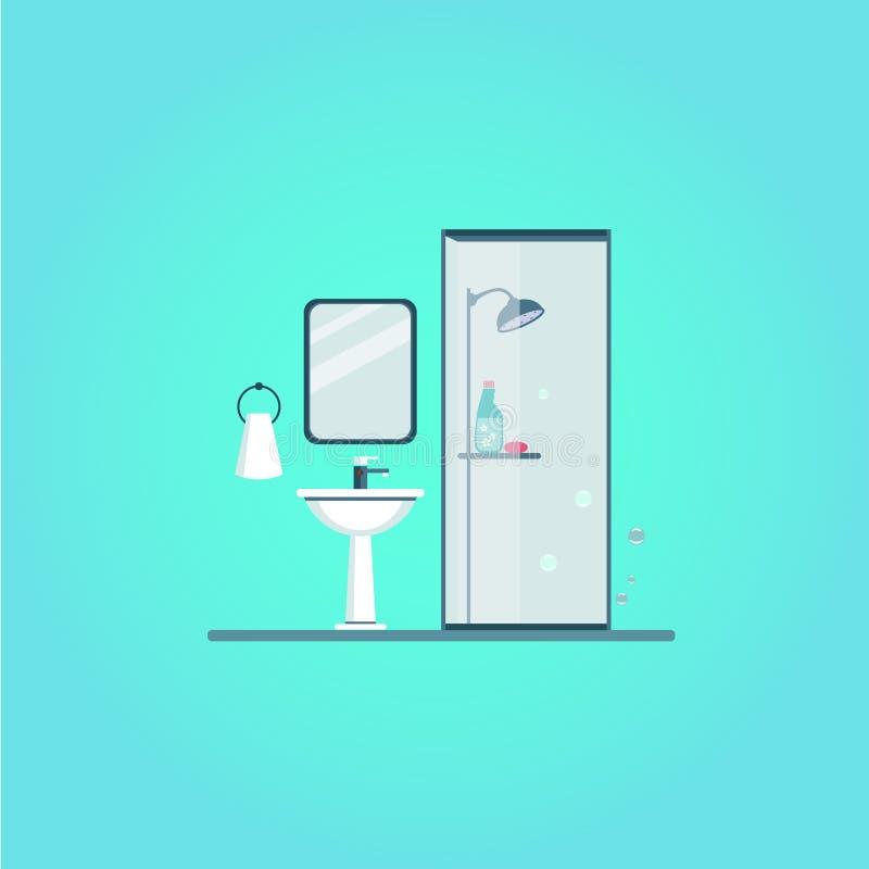Het Moderne in ontwerp van de badkamersdekking Vector royalty-vrije illustratie