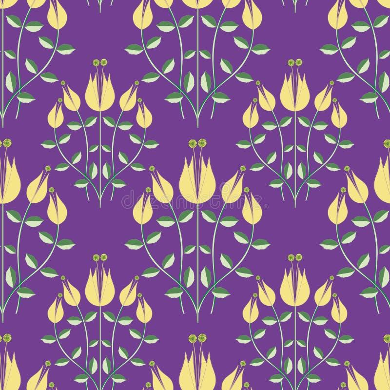 Het moderne ontwerp van de damaststijl van gestileerde gele bloemen op een purpere achtergrond Elegant naadloos half dalings vect stock illustratie