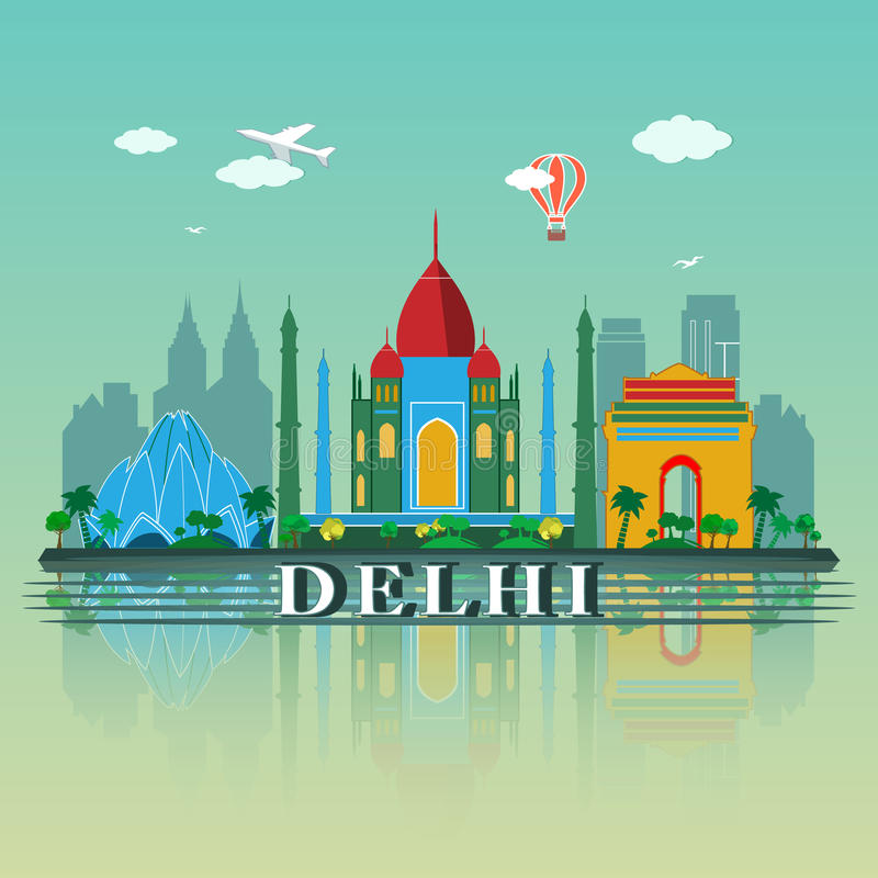 Het moderne Ontwerp van de de Stadshorizon van Delhi India royalty-vrije illustratie