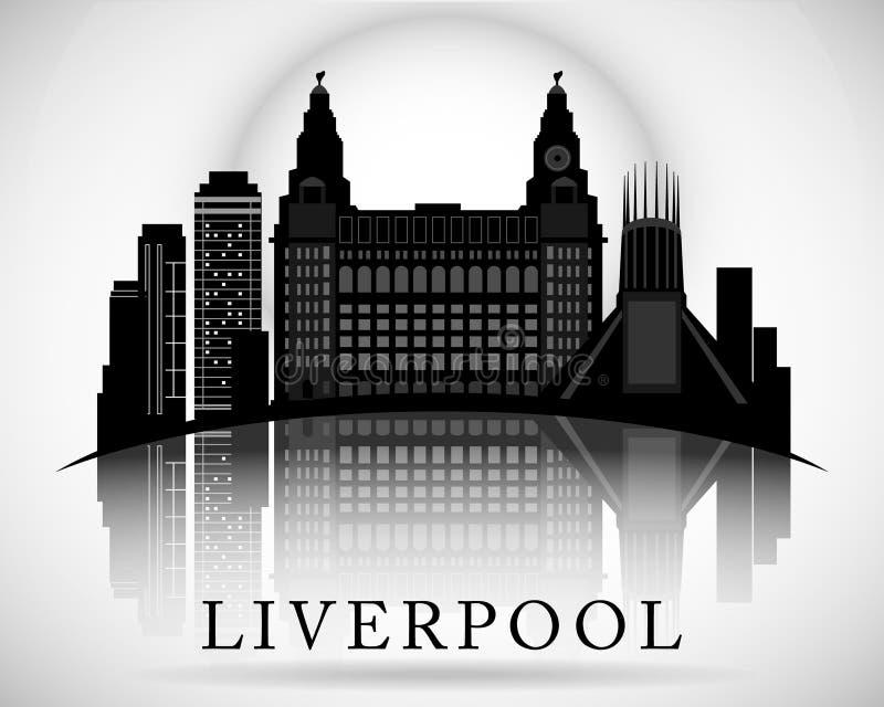 Het moderne Ontwerp van de de Stadshorizon van Liverpool engeland stock illustratie