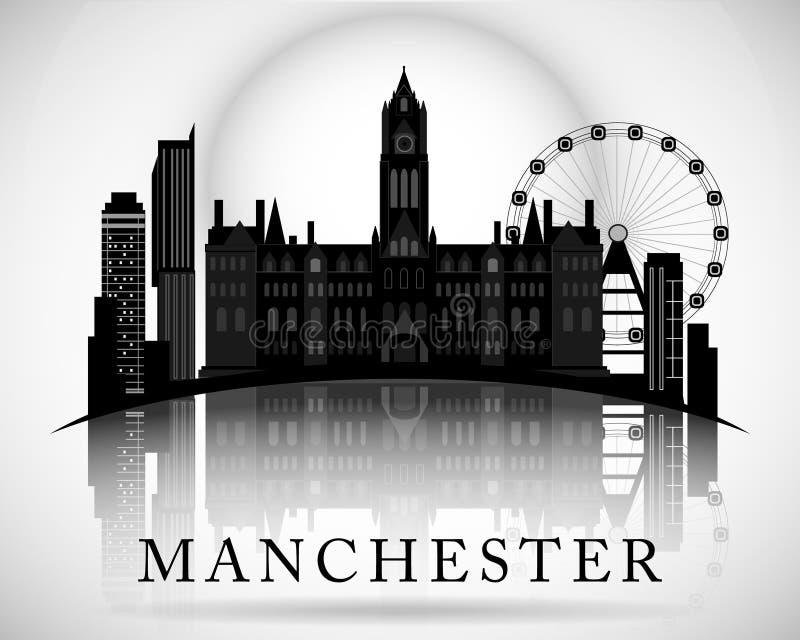 Het moderne Ontwerp van de de Stadshorizon van Manchester engeland stock illustratie