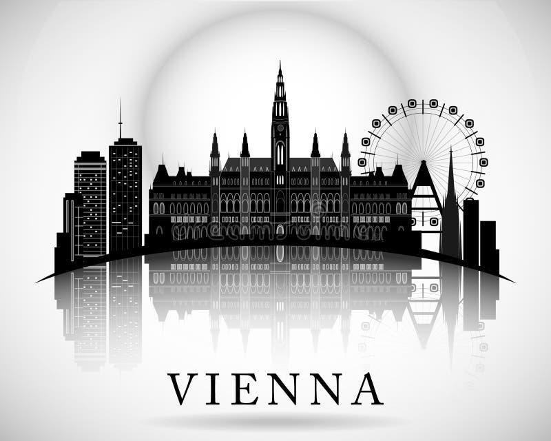 Het moderne Ontwerp van de de Stadshorizon van Wenen - Oostenrijk stock illustratie