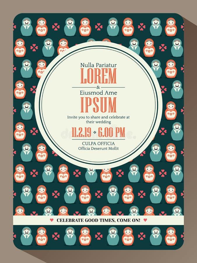 Het moderne ontwerp van de de uitnodigingskaart van het hipsterhuwelijk stock illustratie