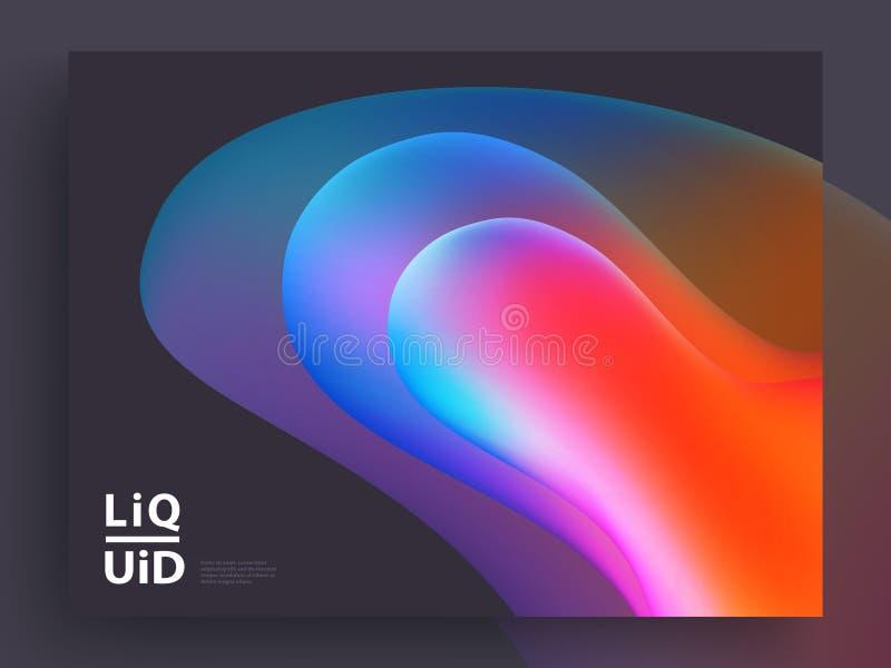 Het moderne ontwerp van het dekkingsmalplaatje Vloeibare kleuren In Holografische Gradiëntvormen voor Presentatie, Tijdschriften, vector illustratie