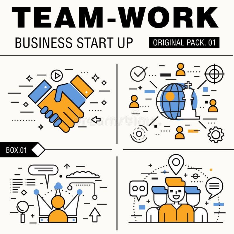Het moderne pak van het teamwerk De dunne van bedrijfs lijnpictogrammen werken royalty-vrije stock foto